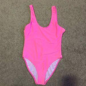 Pink neon bathing suit